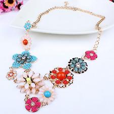 Women Fashion Pendant Colorful Resin Flower Choker Chunky Bib Chain Necklace