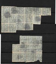 España. 1ª Repulica. 2 fichas con bloques de 10 cts. de 11 sellos y de 15