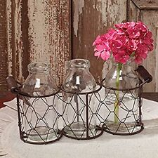 Decorative Triple Wire Holder With 3 Glass Bottles