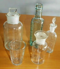 5 old/vintage assorted glass bottles and/or measures, some stoppered