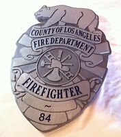 Fire Department Los Angeles Fire Fighter 3D routed wood patch sign Custom