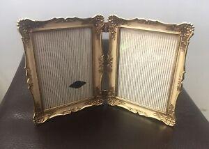 24K / Karat Gold Electroplate  Picture / Photo Frame  2-Sided  Vintage