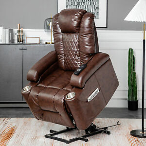 Electric Rise and Recline Leather Lift Chair Armchair Recliner Mobility Riser UK