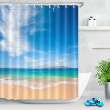 Blue Sky Cloud Tropical Beach Scenic 6x9ft Polyester Fabric Shower Curtain Set
