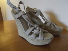 ALDO Wedge Sandals Nude/Beige Strappy High Heels Rope Platforms UK Size 7 EU 40