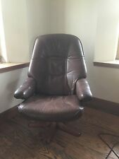 Stouby Danish modern leather armchair and footstool