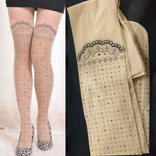 Sheer Beige Nude Pantyhose Faux Tattoo Floral Garter Polka Dot Heart Tights OS