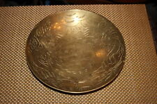Antique Chinese Brass Metal Bowl-Engraved Dragons Symbols-#2