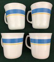 Corning Corelle Coffee Mugs Set of 4 Blue Band Yellow Stripe