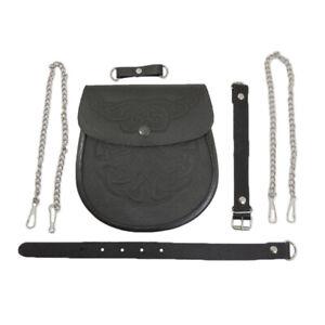 Celtic Highlander Embossed Black Leather Scottish Kilt Bag Sporran Pouch & Belt