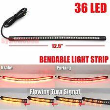 "12"" Bendable Universal Motorcycle LED Light Strip Tail Brake Flowing Turn Signal"