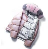 Winte Puffer Shiny Women 90% Duck Down Coat Big Real Fox Fur Parka short Jacket