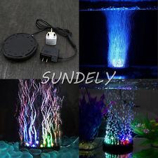 RGB Aquarium Fish Tank Air Curtain Bubble Stone Disk Submersible Light Pond LED
