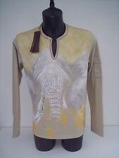 T-shirt Roberto Cavalli,manica lunga,colore beige elefante,tg 46