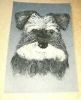 Needle felted Miniature Schnauzer dog portrait plaque real wool ooak new