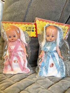 "NIP- Lot Of 2 -VTG Antique HARD PLASTIC celluloid 5"" Baby Dolls by GALBA  Italy"