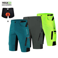 Mens Baggy Shorts Loose MTB Mountain Road Cycling Bike Riding Padded Short Pants