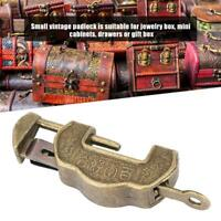 Chinese Vintage Padlock Brass Antique Lock Key for Jewelry Box Drawer Cabinet