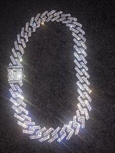 "18"" Cuban Chain Necklace Iced Chocker Silver"