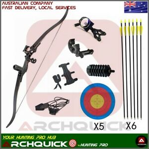 """New Archery Recurve Bow Set Takedown Hunting Target shooting Practice Kit 54"""""""