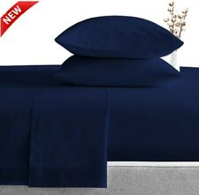 High Quality Bed Sheet Sets Cotton 800 Tc Navy Blue Queen/King Size 4/6 Pieces