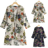 Women's Open Front Cardigan Casual Floral Print Loose Asymmetrical Jacket Coat