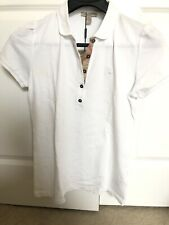 Womens Burberry NWT white POLO SHIRT short sleeves  Sz L Peter Pan Collar