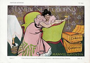 RAMON CASAS Pluma y Lapiz CHAMPAGNE CODORNIU Original Chromo-Litho 1901 (2)