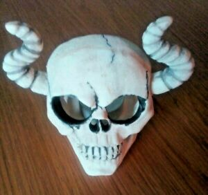 Halloween Skull with horns tealight candle holder. Gothic. Freestanding .