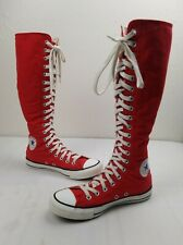 Converse All Star Knee High Zip Canvas XXHi Shoes Boots Women Size 8.5 Red Rare