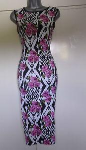 women girls long length bodycon( celeb look) dress size  10 12 uk multi colour