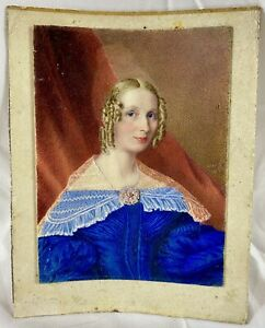 19th C. 1838 Miniature Portrait Painting of Woman in Blue, American or English