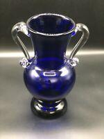 VINTAGE ART DECO COBALT BLUE VASE WITH CLEAR GLASS APPLIED HANDLES