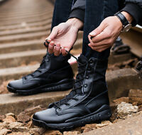 Mens Outdoor Real Leather Ankle Boots Army Tactical Desert Combat Shoes AU4.5-10