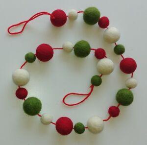 100% wool felt ball CHRISTMAS pom pom GARLAND decoration NEW 100cm 29 balls NEW