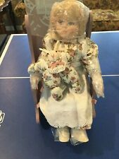 "Vintage 15"" Porcelain Doll with Musical Rocker"