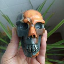 Rare!!! 515g  Natural Ocean Jasper stone carving skull Healing #7