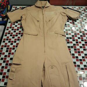 Gibson And Barnes 10T Small Khaki Nomex Pilot Flight Suit Tan Jumpsuit Coveralls
