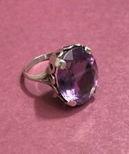 AMETHYST & STERLING SILVER RING, SIZE 7