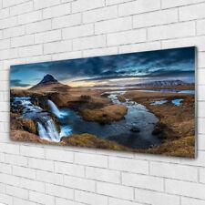 Glasbilder Wandbild Druck auf Glas 125x50 Gebirge Wasserfall See Landschaft