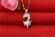 "0.5CT Diamond Fox Necklace S925 Solid Silver Chain 18""Love Heart Gift MOM-NL156"