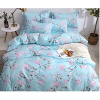 Flowers Printing Blue Bedding Set Duvet Quilt Cover+Sheet+Pillow Case Four-Piece