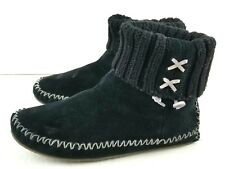 L.L. Bean Black Suede Wool Women's Ankle Booties Boots Size 8