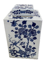 Beautiful Blue and White Floral Floral Bird Porcelain Square Tea Caddy 12""