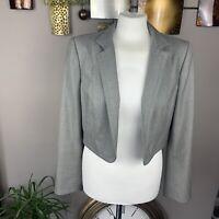 Anna Klein Size 12 Grey Smart Suit Jacket Blazer Cropped Collared Lined