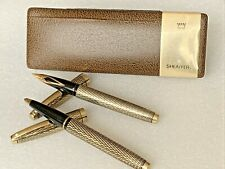 More details for vintage 14ct gold filled & 14ct nibb sheaffer fountain ballpoint pen set boxed