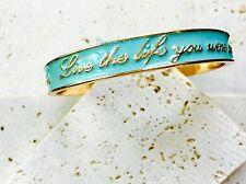 NEW Enamel Idiom Gold Inspirational Bracelet Statement Bangle Graduation Gift US