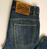 SUPERDRY MENS JEANS W32 L32 BLUE BUTTON FLY STRAIGHT 076