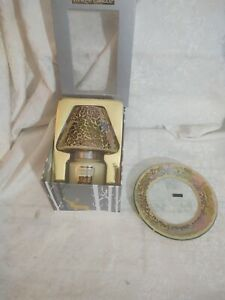 Yankee Candle All is Bright Small Jar w/Gold Mosiac Shade and Plate - NEW