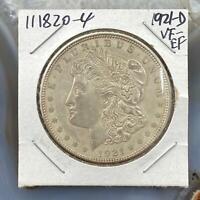 1921-D US Morgan Silver Dollar $1 90% US Collectible Coin VF-EF #111820-4